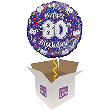 Image Unavailable Not Available For Colour InterBalloon Helium Inflated Happy 80th Birthday Purple Streamers Balloon Delivered