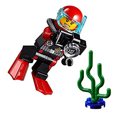 LEGO City MiniFigure: Deep Sea Explorers - Female Scuba Diver (w/ Camera and Sea Plant): Toys & Games