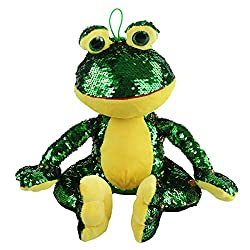 Stuffed Frog Plush Toy with Sparkle Magic Sequins