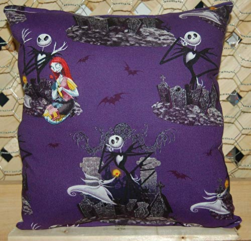 (Nightmare Before Christmas Pillow Jack Skellington & Sally Pillow HANDMADE in)