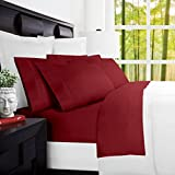 Mandarin Home Luxury 100 Percent Bamboo Derived from Rayon Bed Sheets - Eco-friendly, Hypoallergenic and Wrinkle Resistant - 4-Piece - (Queen, Burgundy)