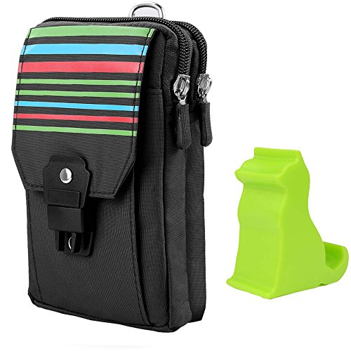 Sumaclife Stripe Polyester Belt Clip Wallet Pouch Bag for HTC Desire 555 550 / U Play / Huawei Nova 2 / P10 / Honor 9 / Y3 Y5 Y6 + Phone Stand (Black) (Loop Stripe Polyester)