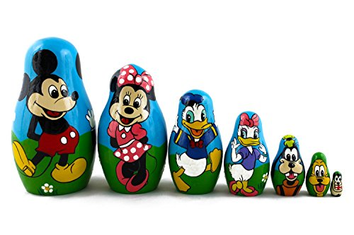 Matryoshka Babushka Russian Nesting Wooden Stacking Doll Characters Mickey Mouse Donald Duck 7 Pcs