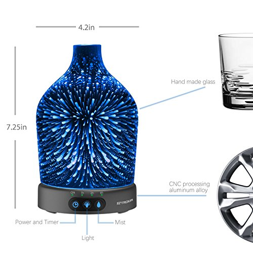 SZTROKIA Essential Oil Diffuser, 200ml Aromatherapy Humidifier, Air Purifier, Night Light. 3D Effect, Metal Base,Ultrasonic Technology Cool Mist, Waterless Auto-shut Off Feature