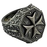 Silver Maltese Cross Knight Templar Mens Ring Fleur De Lis Masonic Jewelry
