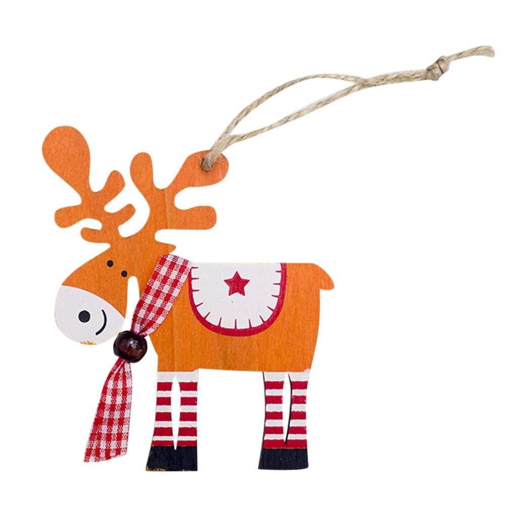 Lanhui Painted Wood Elk Pendant ,Christmas Tree Decoration Xmas Decor Deer Ornaments (9 x 10cm, Yellow)