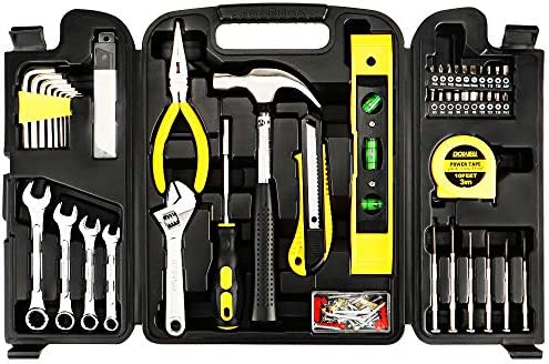 DOWELL 90 Piece Tool Set Home Repair Hand Tool Kit with Wrench Sets Plastic Tool Box Storage Case