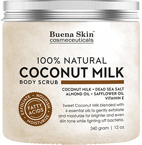 Coconut Milk Body Scrub by Buena Skin | 100% Natural, Powerful Exfoliator and Moisturizer with Dead Sea Salt, Almond Oil and Vitamin E 12 oz.
