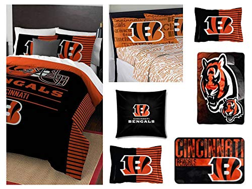 Northwest NFL Cincinnati Bengals Ultimate 10pc Ensemble: Includes Full/Queen Comforter, 2 Shams, Full Flat Sheet, Full Fitted Sheet, 2 Pillowcases, Rug, toss Pillow, and Oversized Throw