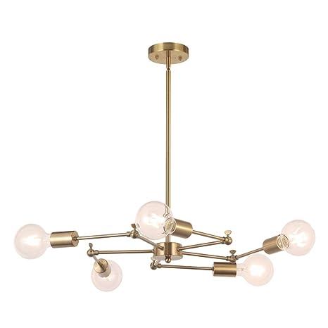Brass pendant lighting Frandsen Image Unavailable Amazoncom Vinluz 5lights Sputnik Chandelier Brushed Brass Pendant Lighting