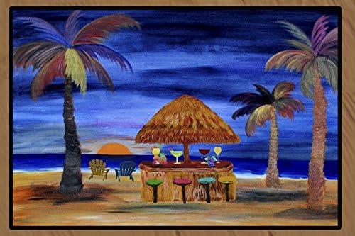 Sunset Tiki Bar Art Floor Mat Indoor Outdoor 24 x 36
