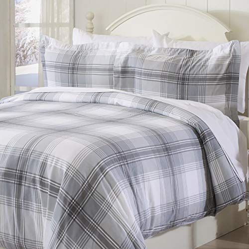 Extra Soft Printed Flannel Duvet Cover with Button Closure. 100% Turkish Cotton 3-Piece Set with Pillow Shams. Belle Collection (King, Plaid - Grey)