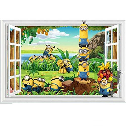 Fangeplus R DIY Removable 3D Cartoons Minions False Window Art Mural Vinyl Waterproof Wall Stickers Kids Room Decor Nursery Decal Sticker Wallpaper 23.6x35.4