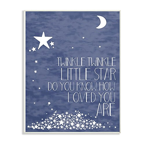 The Kids Room by Stupell Navy Textural Twinkle Little Star Typography Wall Plaque Art, 10 x 0.5 x 15, Proudly Made in USA