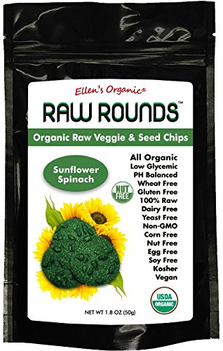 Raw Round Organic Raw Veggie & Seed Chips Superfood Snacks (Sunflower Spinach)
