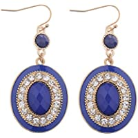 phitak shop Womens Fashion Vintage Gold Bohemian Dark Blue Round Drop Dangle Earrings