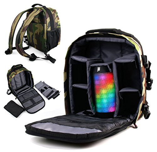 DURAGADGET Premium Quality, Camouflage Water-Resistant Rucksack / Backpack for the NEW JBL Pulse 2 Wireless Bluetooth Portable Speaker (Sept. 2015) & JBL Pulse Portable Speaker - with Customizable Interior & Raincover by DURAGADGET