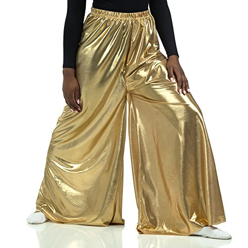 Danzcue Girls Celebration Spirit Palazzo Pant, Metallic Gold, 8-10]()