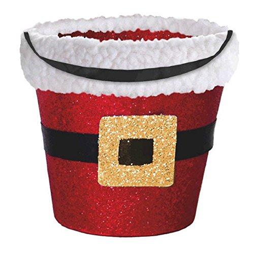 amscan Red Santa Glitter Cardboard Bucket | Christmas -