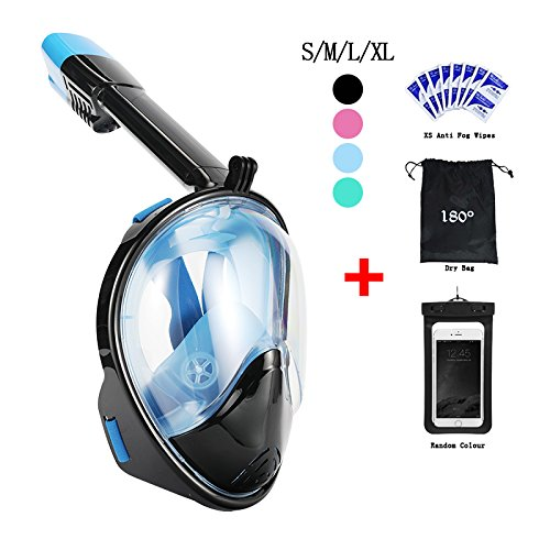 Snorkel Mask 180° view for Adults and Youth. Full Face Free Breathing Design.[Free Bonuses] Cell Phone Universal Waterproof Case (Dry Bag) and Anti-Fog wipes (Black/Blue, - Blue Shot And Black