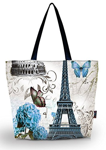 ICOLOR Beautiful Flower Large Reusable Eco-friendly Shopping Bag Handle case Bag School Shopping Large Grocery shoulder bag Reusable Portable Storage HandBags Convenient Shoppers Tote YGWB-42