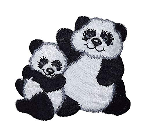 Panda Bear with Cub - Animals - Iron On Applique/Embroidered Patch (Panda Iron)