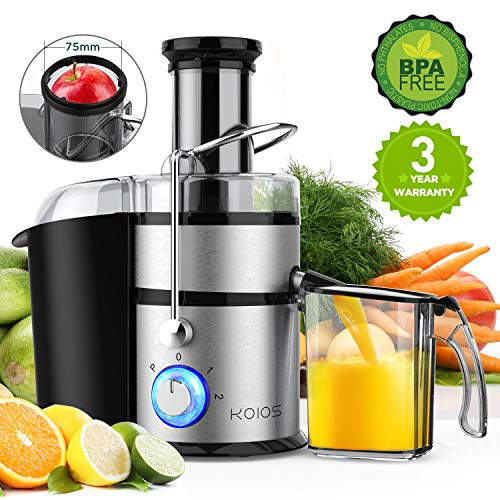 KOIOS Centrifugal Juicer Machines, Juice Extractor with Big Mouth 3″ Feed Chute, 304 Stainless-steel Fliter, Best Seller Juicer 2019, High Juice yield, Easy to Clean&100% BPA-Free, 1200W&Powerful, Dishwasher Safe, Included Brush, The Best Choice for Gold Sellers
