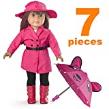 """American Girl Doll Clothes, Yeshow Rain Coat Doll Clothes for 18"""" Dolls - Includes Rain Jacket, Umbrella, Boots, Hat, Belt, Pants, and Shirt, Sets for 18 inch Dolls Toys ( Handmad )"""