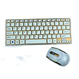 E-SDS 2.4GHz Wireless Keyboard and Mouse Combos Ultrathin Keyboard Computer Multimedia Slim Aluminum Design Kit Golden