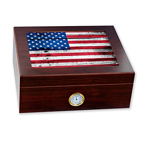 ExpressItBest Premium Desktop Humidor - Glass Top - Flag of United States American USA - Wood Design - Cedar lined with humidifier & front mounted hygrometer.