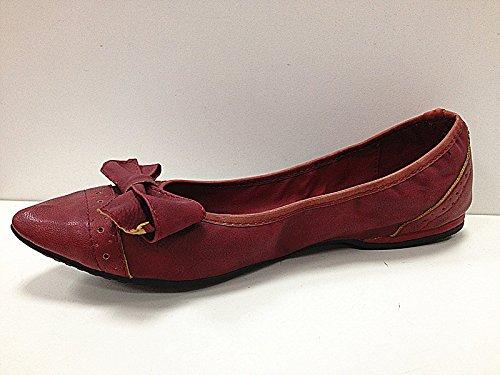 Femme, Chaussures Ballerines Mocassins 985-72 Assiettes, Couleur: Rouge