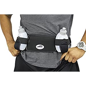 Hydration Belt : Adjustable Running Water Bottle Belt – Best Running Belt for Cell Phones, Iphone, Cash, Cards & Keys