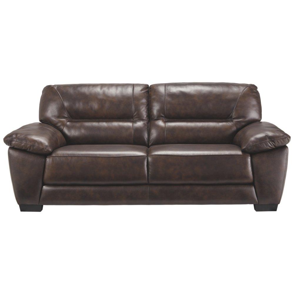 Amazon com ashley furniture signature design mellen contemporary leather sofa walnut brown kitchen dining