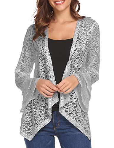 Shirt Top Layered Shrug - Dealwell Lace Shrug Cardigans Ladies Bell Sleeve Ruffle Bolero Jacket for Evening Dress (Grey, XL)