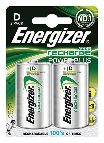 Energizer Original Akku Power Plus Mono D (2500mAh, 1,2 Volt, 2-er Pack)