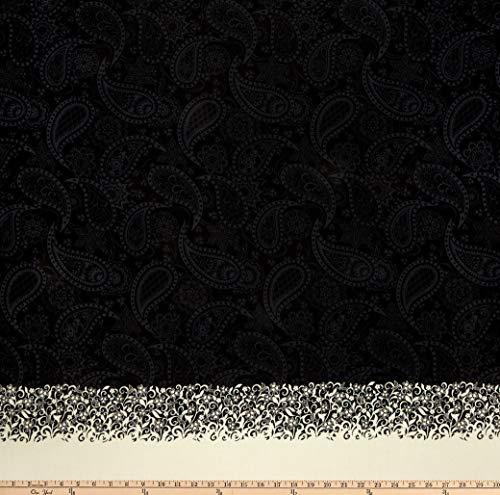 Benartex Jubilee Border Paisley Black, Fabric by the Yard