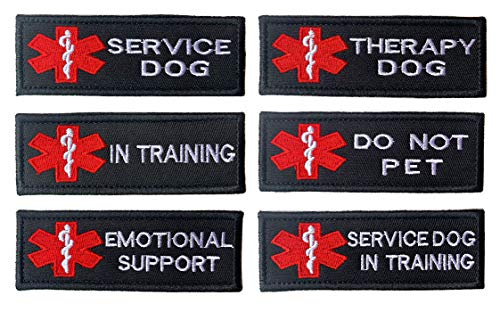 (Antrix 6 Pieces EMT EMS Medical Dog Patch Service Dog/Therapy Dog/I n Training/Do Not Pet/Emotional Support/Service Dog in Training Embroidered Morale Badge Patches for Dogs Harness Vest - 4x1.5
