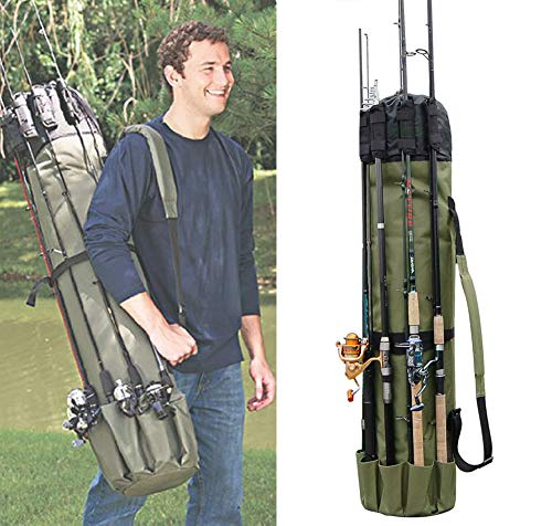 (JSHANMEI Fishing Bag Fishing Rod Reel Case Carrier Holder Fishing Pole Storage Bags Fishing Gear Organizer Travel Carry Case Bag )
