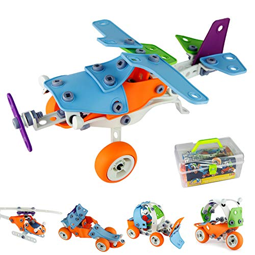 PBOX 132PCS,5-in-1 Toddler Building Construction Set,Building Truck kit ,STEM Educational Engineering Building Blocks Toy kit for 4-5+Year Old Boys&Girls
