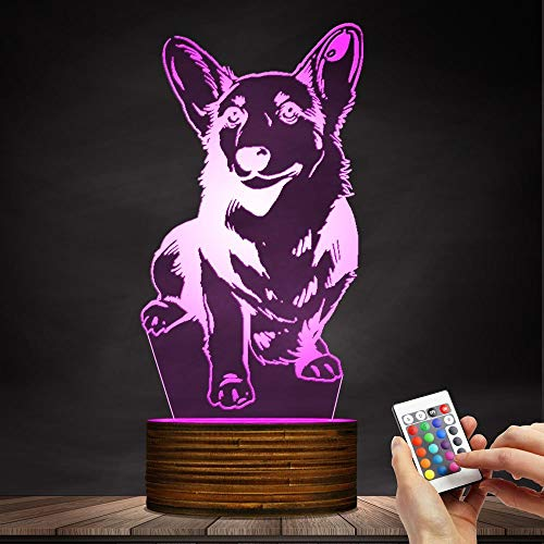 Novelty Lamp, Night Light 3D LED Lamp Optical Illusion Corgi Dog, 16 Color Remote Control Changes, with USB Charging Connector, Children's Birthday Gift Bedroom Decoration,Ambient Light by LIX-XYD (Image #8)