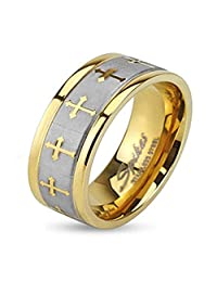 Stainless Steel Two Tone Gold IP Wedding Band with Celtic Cross Design Brushed Center Finish, Ring Width of 8MM