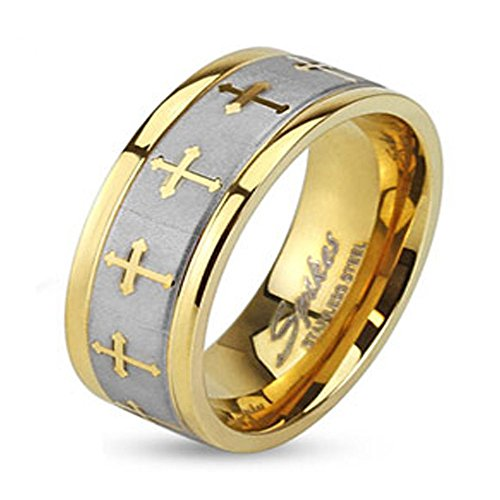 - Stainless Steel Two Tone Gold IP Wedding Band with Celtic Cross Design Brushed Center Finish, Ring Width of 8MM