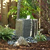 "Outdoor Fountain Birdbath-style Bubbler Complete W/16"" Bubbler Rock 2'x2', 12-gallon Base/reservoir, Pump & Hose"