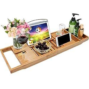 Amazon Com Bamboo Bathtub Caddy Tray Bathroom Organizer