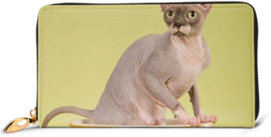 JHGFG Bolso de Moda Cartera con Cremallera Sin Pelo Sphynx Cat Taza Grande en el teléfono Cartera de Embrague Cartera de Noche Bloqueo Cartera de Cuero Organizador de múltiples Tarjetas