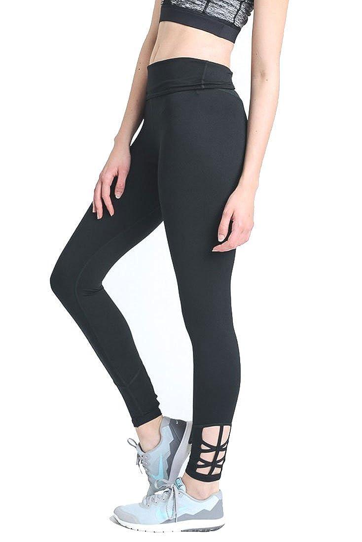 Criss Cross Side Accent Mono B Women's Performance Activewear  Yoga Leggings with Sleek Contrast Mesh Panels Black