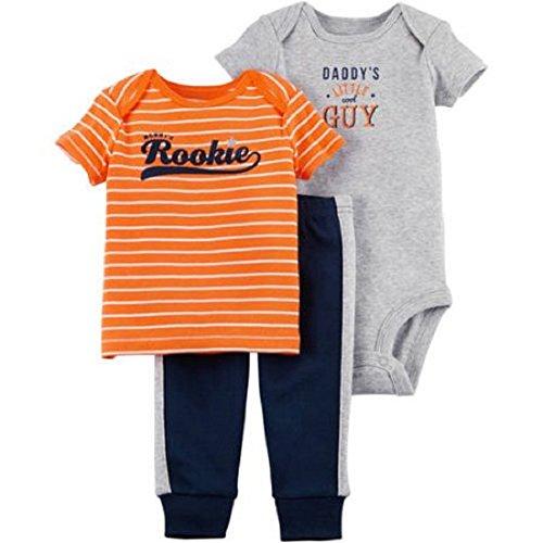 Child of Mine Preemie Baby Boy Clothes Shirt Bodysuit and Pant Set (Preemie, Orange Rookie) ()