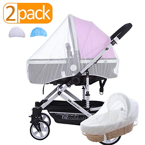 FINENIC Mosquito Net for Baby Stroller,Efficient Insect Netting,High Elasticity and Permeability,Suitable for Baby Stroller, Cribs, Cradles and Playpen,Universal Size, White + Blue