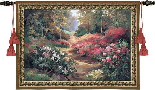 Fine Art Tapestries Along The Garden Path Wall - Tapestry Garden Path