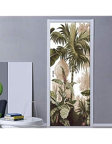3D color/é g/éom/étrie Autocollant de Porte Enfants Papier Peint PVC Auto-adh/ésif /étanche Maison d/écalcomanies Vinyle 3D Mural p/âte-77x200 cm